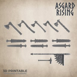 Viking Weapons and Shields Set