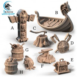 Wiking Set with Boat and Totem